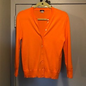 J Crew orange cotton cardigan